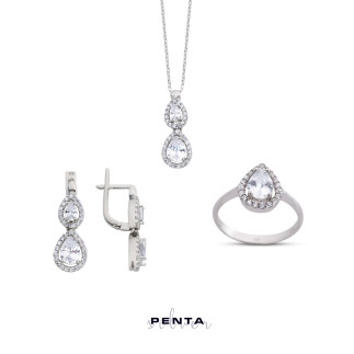Penta Silver - Süzme Damla Anturaj Gümüş Takı Seti