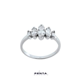 Penta Silver - Süzme Markiz Beştaş Gümüş Yüzük