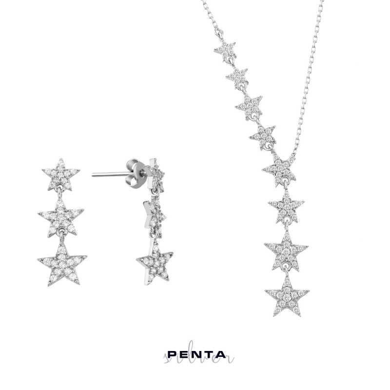 Takım Yıldızı İkili Gümüş Set Üçlü Küpe