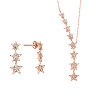 Takım Yıldızı İkili Gümüş Set Üçlü Küpe - Thumbnail