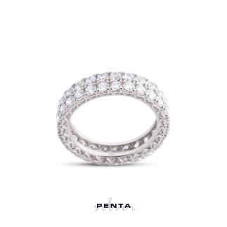 Penta Silver - Tamtur İki Sıra Taş Gümüş Yüzük