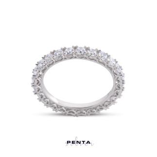 Penta Silver - Tamtur Kalpli Pırlanta Montür Gümüş Yüzük