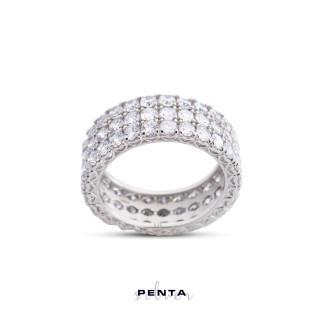 Penta Silver - Tamtur Üç Sıra Taş Gümüş Yüzük