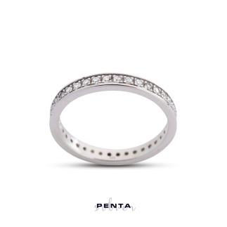 Penta Silver - Tamtur Zemin Montür Alyans Gümüş Yüzük