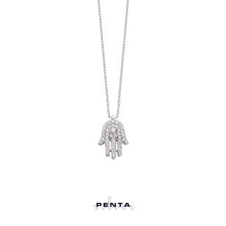 Penta Silver - Taşlı Fatma Ana Eli Gümüş Kolye (1)