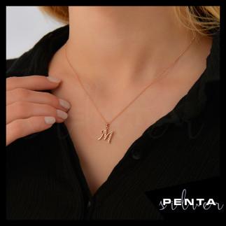 Penta Silver - Taşlı Harfli Gümüş Kolye