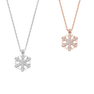 Taşlı Kar Tanesi Gümüş Kolye - Thumbnail