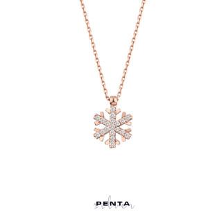 Penta Silver - Taşlı Kar Tanesi Gümüş Kolye