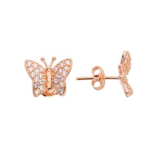 Taşlı Kelebek Gümüş Küpe - Thumbnail