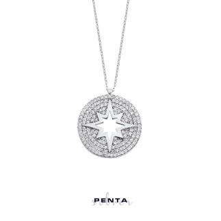 Penta Silver - Taşlı Kutup Yıldızı Gümüş Kolye (1)