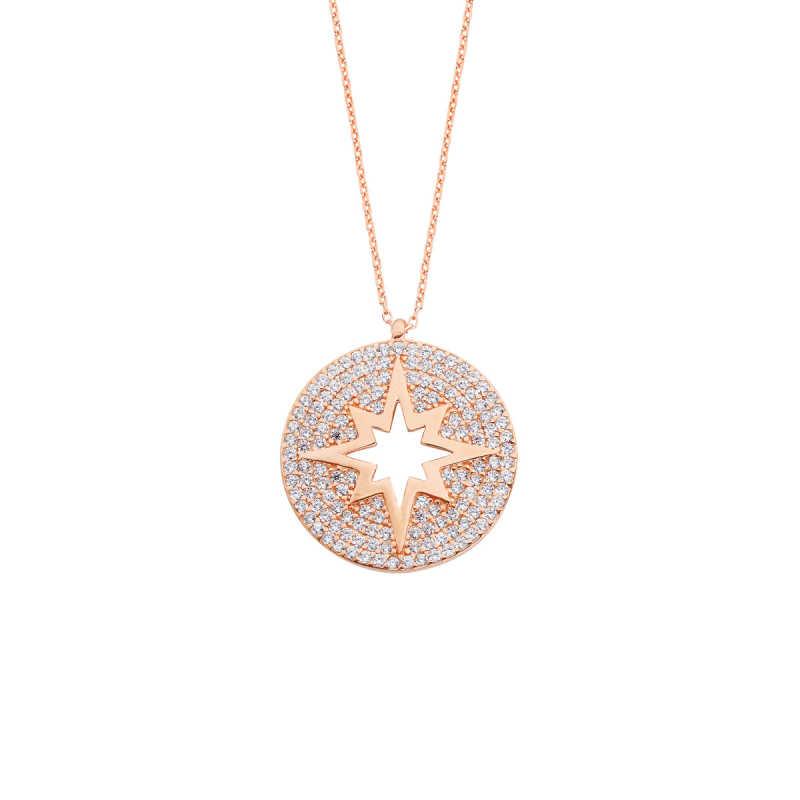 Taşlı Kutup Yıldızı Gümüş Kolye