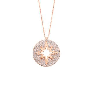 Taşlı Kutup Yıldızı Gümüş Kolye - Thumbnail
