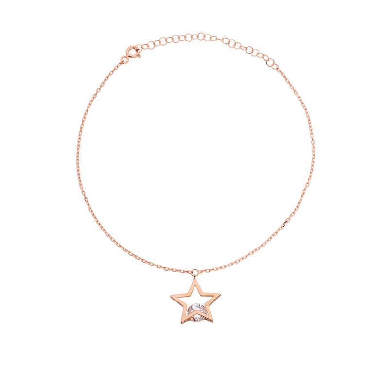 Taşlı Yıldız Gümüş Halhal