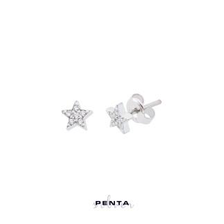 Penta Silver - Taşlı Yıldız Gümüş Küpe