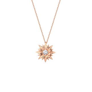 Tek Taş Çiçek Gümüş Kolye - Thumbnail