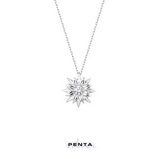 Penta Silver - Tek Taş Çiçek Gümüş Kolye