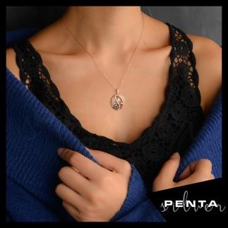 Penta Silver - Tek Taş Kuğu Rose Gümüş Kolye (1)