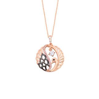 Tek Taş Kuğu Rose Gümüş Kolye - Thumbnail