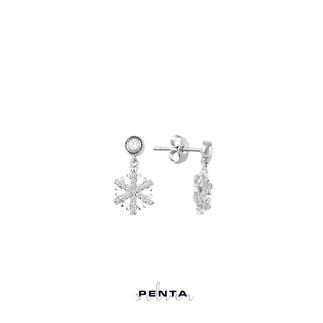 Penta Silver - Tek Taş Sallantı Kar Tanesi Gümüş Küpe (1)