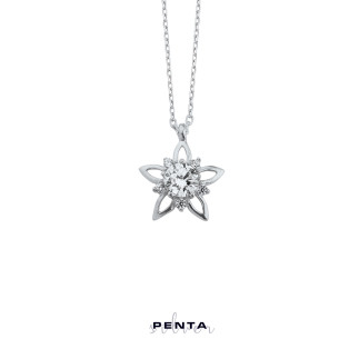 Penta Silver - Tek Taş Yıldız Gümüş Kolye