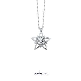 Penta Silver - Tek Taş Yıldız Gümüş Kolye (1)