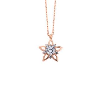 Tek Taş Yıldız Gümüş Kolye - Thumbnail