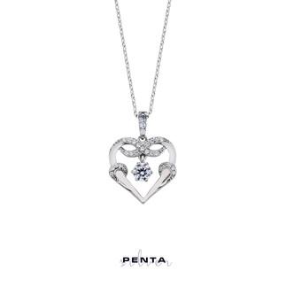 Penta Silver - Tek Taşlı Kalpli Sonsuzluk Gümüş Kolye (1)