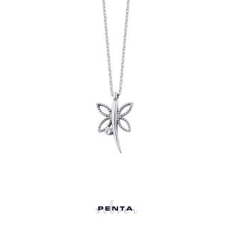 Penta Silver - Tek Taşlı Yusufçuk Gümüş Kolye