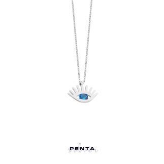 Penta Silver - Tektaş Göz Gümüş Kolye