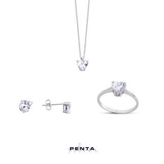Penta Silver - Tektaş Kalp Gümüş Takı Seti