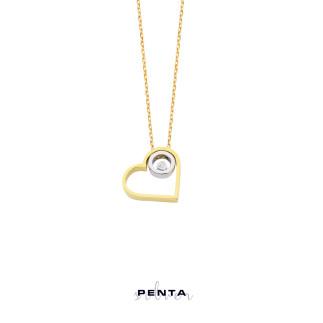 Penta Silver - Tektaş Kalpli Gümüş Kolye
