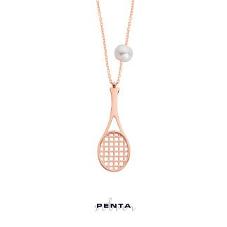Tenis Raketi Gümüş Kolye - Thumbnail