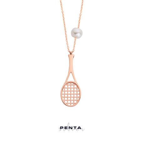 Tenis Raketi Gümüş Kolye