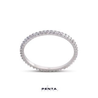 Penta Silver - Tırnaklı İnce Tamtur Gümüş Yüzük