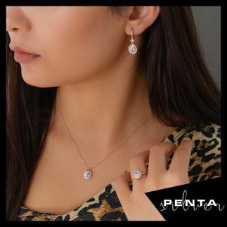 Penta Silver - Tırnaklı Oval Pırlanta Montür Gümüş Takı Seti (1)
