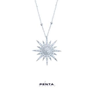 Penta Silver - Top Zincirli Güneş Gümüş Kolye (1)