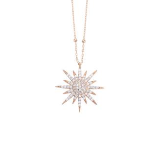Top Zincirli Güneş Gümüş Kolye - Thumbnail