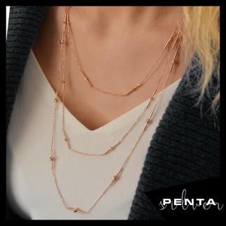 Penta Silver - Toplu Çubuk Uzun Zincir Gümüş Kolye (1)