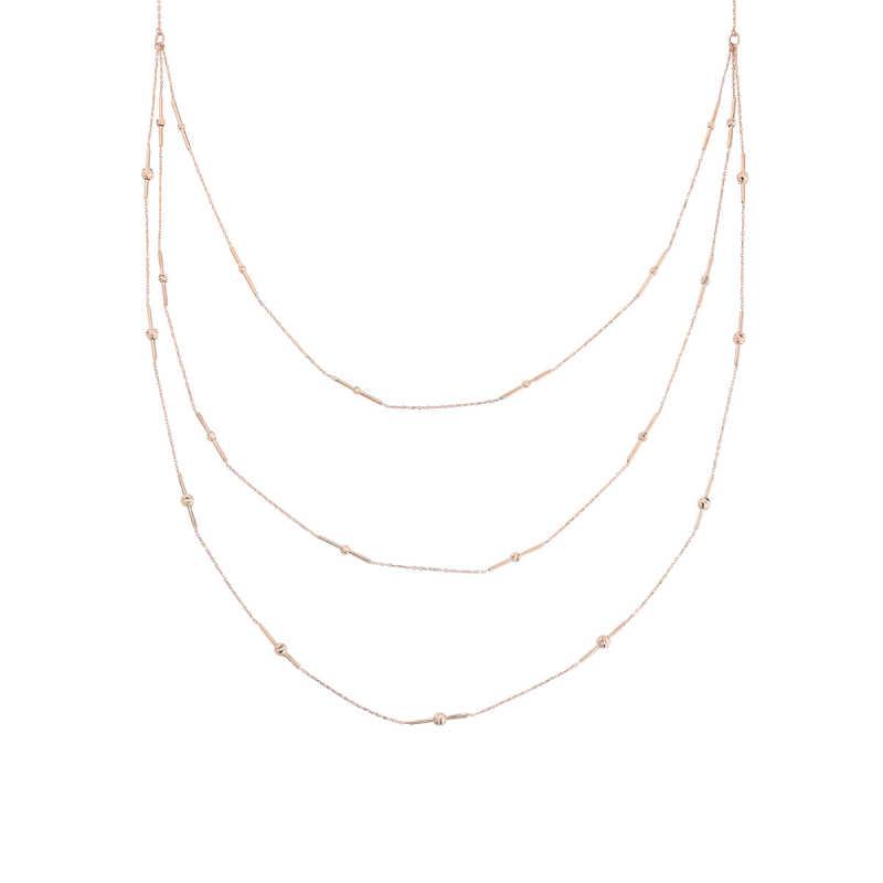 Toplu Çubuk Uzun Zincir Gümüş Kolye