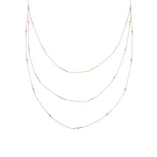 Toplu Çubuk Uzun Zincir Gümüş Kolye - Thumbnail