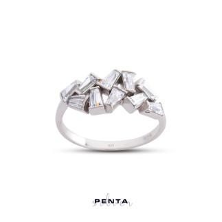 Penta Silver - Trapez Kesim Asimetrik Gümüş Yüzük (1)