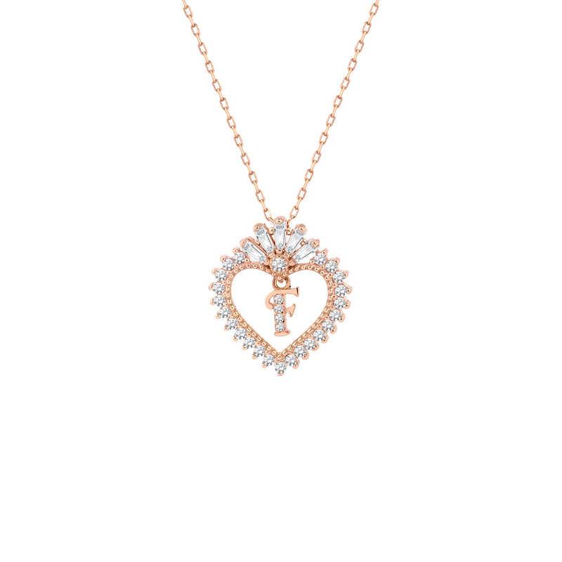 Trapez Taşlı Harfli Kalp Gümüş Kolye