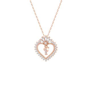Trapez Taşlı Harfli Kalp Gümüş Kolye - Thumbnail