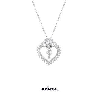Penta Silver - Trapez Taşlı Harfli Kalp Gümüş Kolye