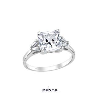 Penta Silver - Trapez Zemin Prenses Kesim Tek Taş Gümüş Yüzük (1)