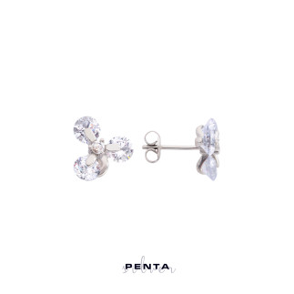 Tria Çiçek Gümüş Küpe - Thumbnail