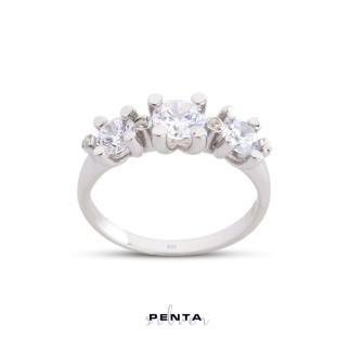 Penta Silver - Tria Pırlanta Montür Gümüş Yüzük