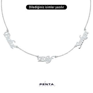 Penta Silver - Üç İsimli Gümüş Kolye