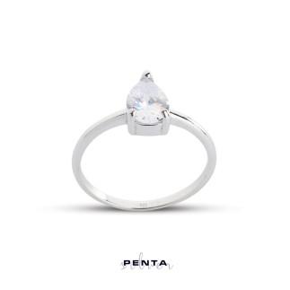 Penta Silver - Üç Tırnak Damla Tektaş Gümüş Yüzük