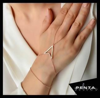 Penta Silver - Üçgen Gümüş Şahmeran Bileklik